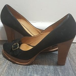 Kors Stacked Wood Peep toe Heels